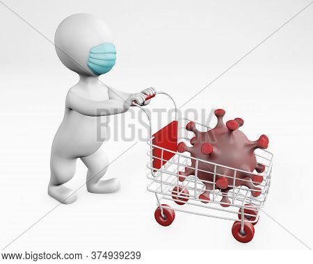 Fatty Man With A Mask Shopping With Coronavirus 3d Rendering Isolated On White