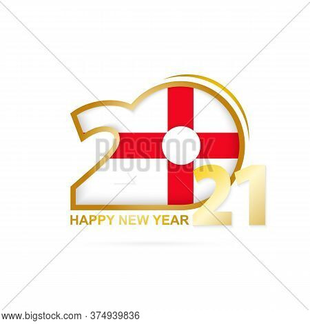 Year 2021 With England Flag Pattern. Happy New Year Design. Vector Illustration.