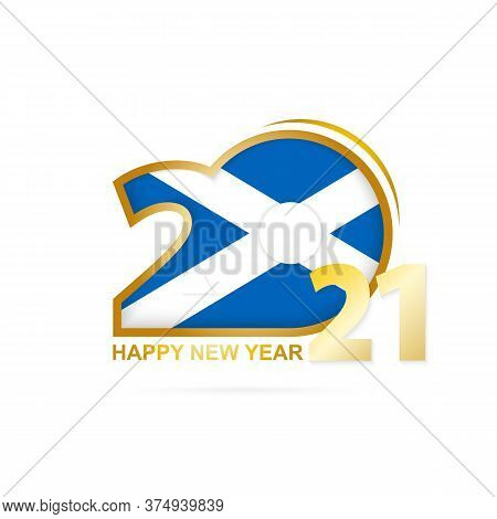 Year 2021 With Scotland Flag Pattern. Happy New Year Design. Vector Illustration.