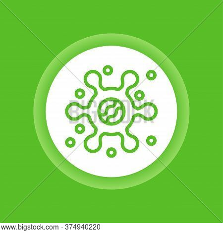 Virus Color Button. Bacteria, Microorganism Icon. Pictogram For Web Page, Mobile App, Promo. Editabl