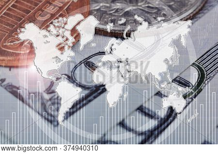 World Map With Stock Chart On Hundred Dollar Bills And Cent Background. Global Finance And Trade Con