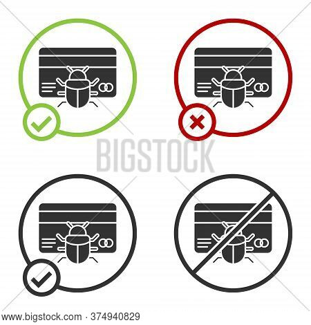 Black System Bug In Credit Card Icon Isolated On White Background. Code Bug Concept. Bug In The Syst