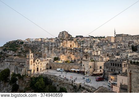 Matera, Italy - September 17, 2019: View Of The Sassi Di Matera A Historic District In The City Of M