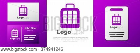 Logotype Pet Carry Case Icon Isolated On White Background. Carrier For Animals, Dog And Cat. Contain