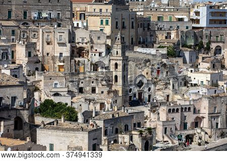 Matera, Italy - September 15, 2019: View Of The Sassi Di Matera A Historic District In The City Of M