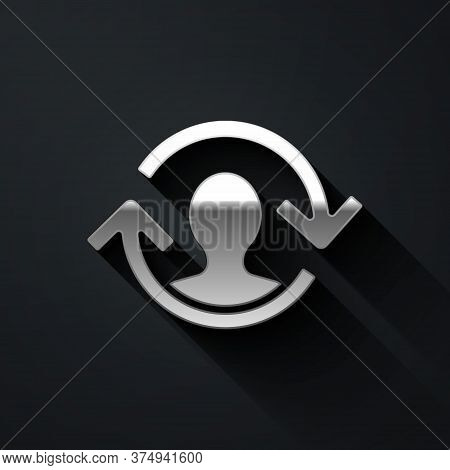 Silver Human Resources Icon Isolated On Black Background. Concept Of Human Resources Management, Pro