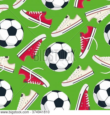 Football. Football Field. Pattern. Vector Illustration With Infinitely Repeating Elements