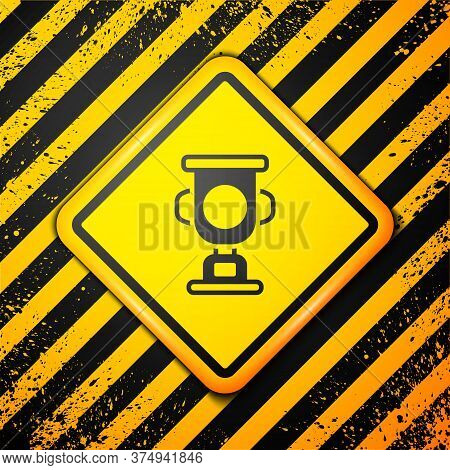 Black Award Cup Icon Isolated On Yellow Background. Winner Trophy Symbol. Championship Or Competitio