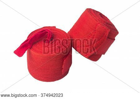 Set Of Red Sports Bandages For Protecting Hands In Martial Arts, Isolated On White Background