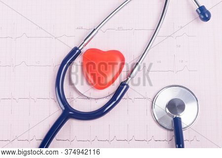 Stethoscope And Red Heart On Paper For Research Top View