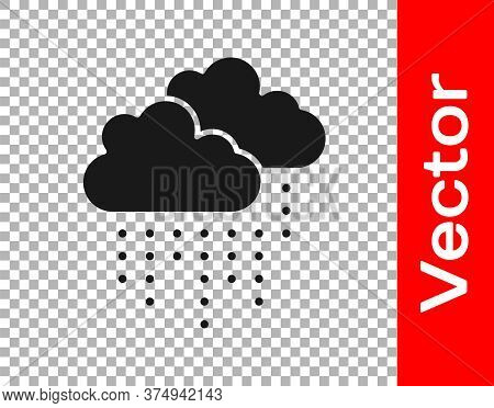 Black Cloud With Rain Icon Isolated On Transparent Background. Rain Cloud Precipitation With Rain Dr
