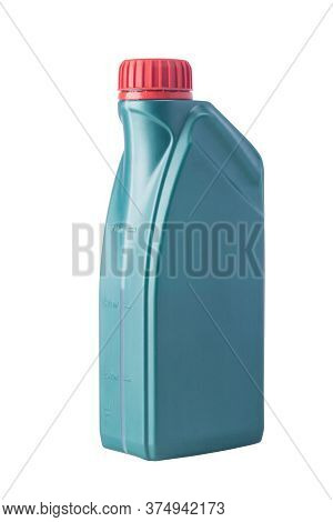 Green Bottle For Engine Oil, Side View, Isolated On White