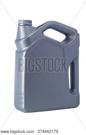 Large Gray Bottle For Engine Oil, Side View, Isolated On White
