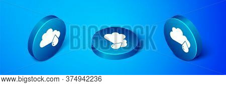 Isometric Cloud With Rain Icon Isolated On Blue Background. Rain Cloud Precipitation With Rain Drops