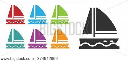 Black Yacht Sailboat Or Sailing Ship Icon Isolated On White Background. Sail Boat Marine Cruise Trav