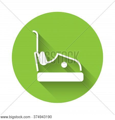 White Bumper Car Icon Isolated With Long Shadow. Amusement Park. Childrens Entertainment Playground,