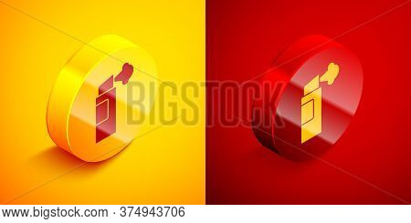 Isometric Pepper Spray Icon Isolated On Orange And Red Background. Oc Gas. Capsicum Self Defense Aer
