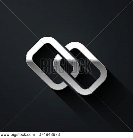 Silver Chain Link Icon Isolated On Black Background. Link Single. Hyperlink Chain Symbol. Long Shado