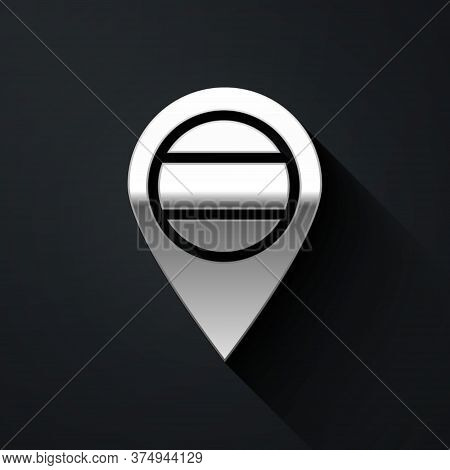 Silver Location Russia Icon Isolated On Black Background. Navigation, Pointer, Location, Map, Gps, D