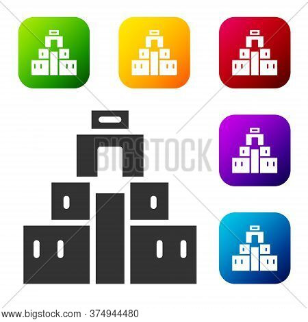 Black Chichen Itza In Mayan Icon Isolated On White Background. Ancient Mayan Pyramid. Famous Monumen