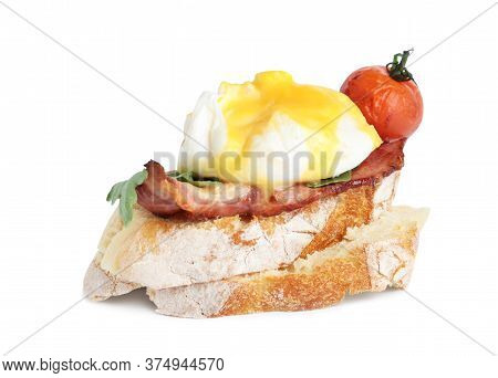 Fresh Delicious Egg Benedict Isolated On White