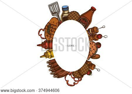 Frames With Colored Spatula, Pork Ribs, Kebab, Sausages, Steak, Sauce Bottles, Grilled Burger Pattie