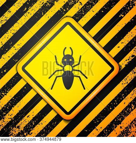 Black Ant Icon Isolated On Yellow Background. Warning Sign. Vector