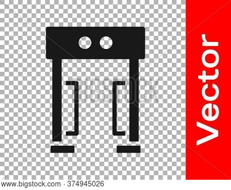 Black Metal Detector Icon Isolated On Transparent Background. Airport Security Guard On Metal Detect