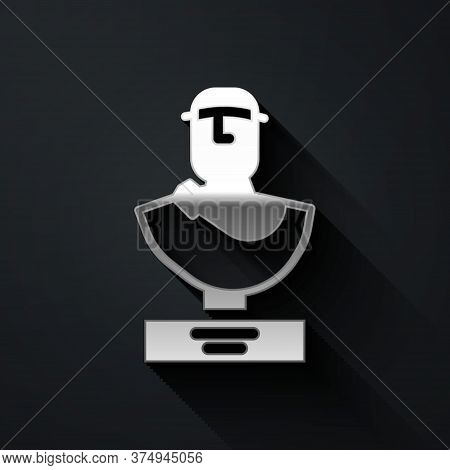Silver Ancient Bust Sculpture Icon Isolated On Black Background. Long Shadow Style. Vector