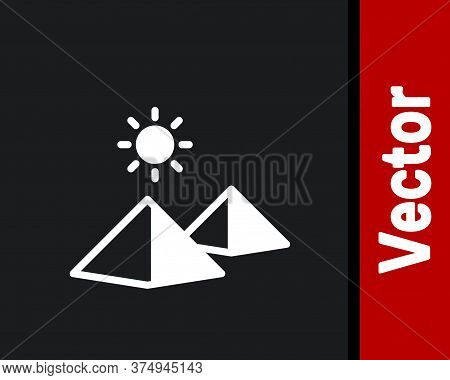 White Egypt Pyramids Icon Isolated On Black Background. Symbol Of Ancient Egypt. Vector