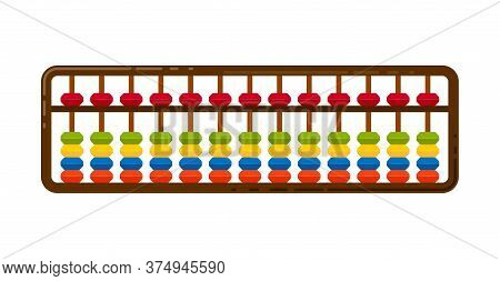 Illustration Wooden Abacus With Beads. Soroban For Learning Mental Arithmetic For Kids