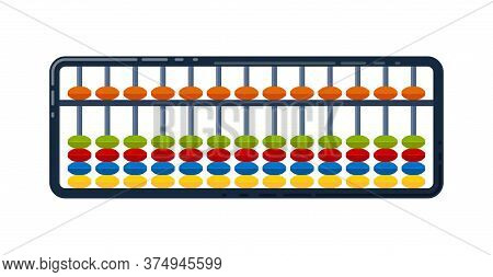 Abacus For Mental Arithmetic. Concept Of Illustration Of The Japanese System Of Mental Math. Vector