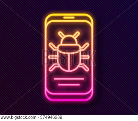 Glowing Neon Line System Bug On Mobile Icon Isolated On Black Background. Code Bug Concept. Bug In T