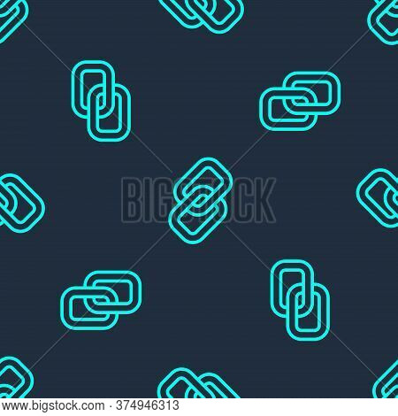 Green Line Chain Link Icon Isolated Seamless Pattern On Blue Background. Link Single. Hyperlink Chai