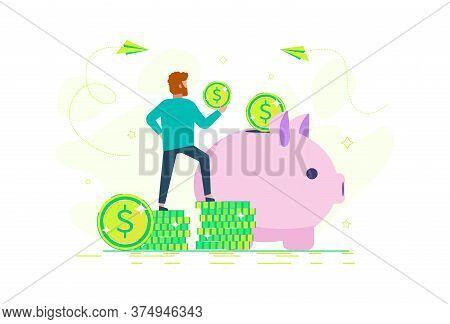 business people.A man is saving money in a piggy bank. business people.Money savings concept.business people