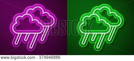 Glowing Neon Line Cloud With Rain Icon Isolated On Purple And Green Background. Rain Cloud Precipita