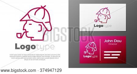 Logotype Line Sherlock Holmes With Smoking Pipe Icon Isolated On White Background. Detective. Logo D