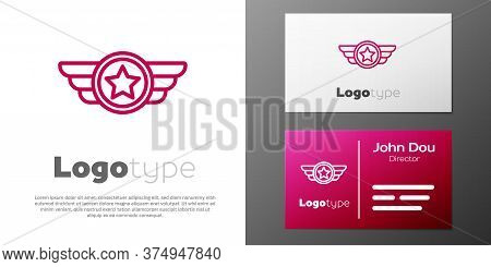 Logotype Line Star American Military Icon Isolated On White Background. Military Badges. Army Patche