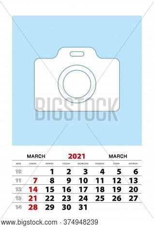 March 2021 Calendar Planner A3 Size With Place For Your Photo. Vector Planner.