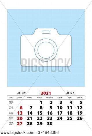 June 2021 Calendar Planner A3 Size With Place For Your Photo. Vector Planner.