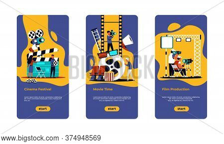 Movie Making Poster. Film Festival, Online Cinema And Movie Production Banners With Cartoon Film Cre