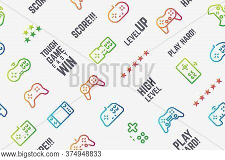 Gamepad Pattern. Seamless Texture With Console Videogame Controllers And Game Slogans. Vector Design