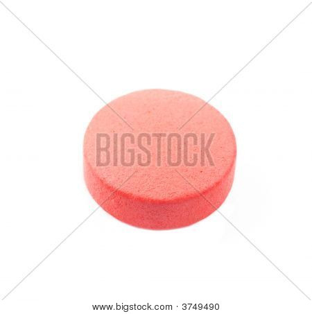 Close Up Of The Pill Isolated On White