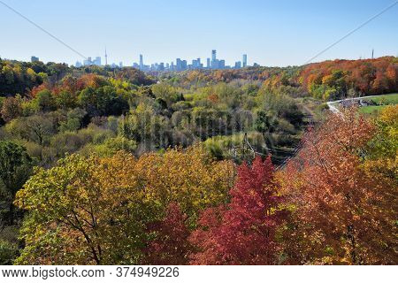 Aerial View Of The Colourful Don Valley Parkway In Autumn With Multicoloured Foliage On The Trees In