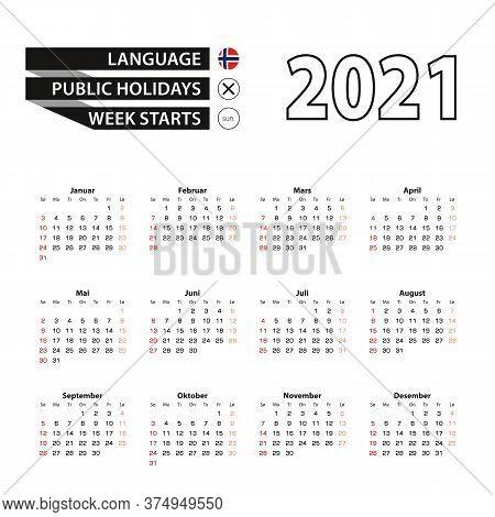 2021 Calendar In Norwegian Language, Week Starts From Sunday. Vector Illustration.