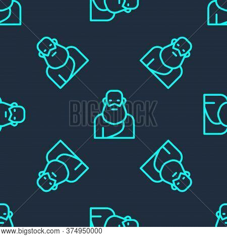 Green Line Socrates Icon Isolated Seamless Pattern On Blue Background. Sokrat Ancient Greek Athenes
