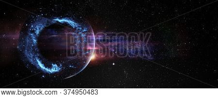 Black Hole Over Star Field In Outer Space, Abstract Space Wallpaper With Form Of Letter O And Sparks