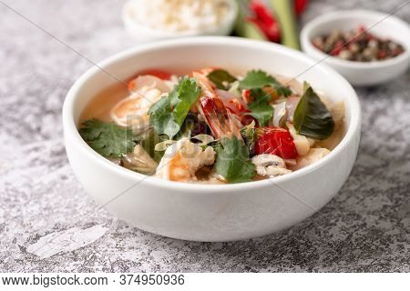 Food And Drink, Traditional Thai Cuisine. Tom Yam Kung, Tom Yum Sour Soup With Shrimp, Prawn, Coconu