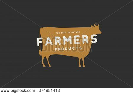 Logo Template With The Image Of The Silhouette Of A Cow And The Inscription Farm Produt. Emblem For