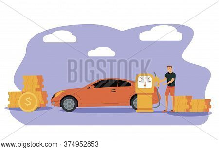 Petrol Economy Concept. Car Refueling On Fuel Station. Man Pumping Gasoline Oil. Service Filling Gas
